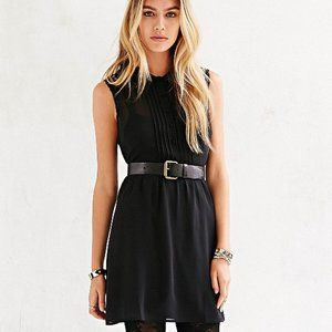 Cope black button down lace black chiffon dress